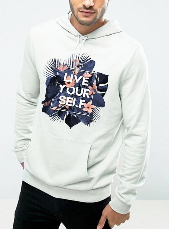 Live Your Self | Unisex Hoodie Sweatshirt | Tropical leaves | Parrots and butterflies | Motivational quote design | Indigo peach | ZuskaArt