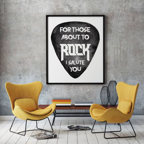 For those about to rock! | ACDC Framed poster | Wall decor | Rock music artwork | Guitar pick | Watercolor painting | ZuskaArt