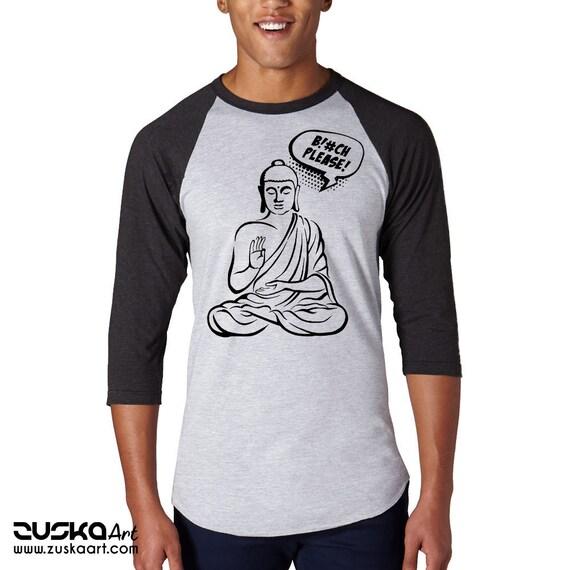 Bitch please! | Unisex Baseball Raglan Shirt | Buddha Comics | Funny Quote | Zen master | Pun design | Graphic art | ZuskaArt