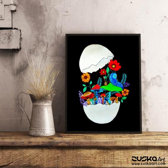 Smoking caterpillar   Framed Poster   Absolem   Alice in wonderland   Magic mushrooms   Psychedelic art   Watercolor egg painting   ZuskaArt