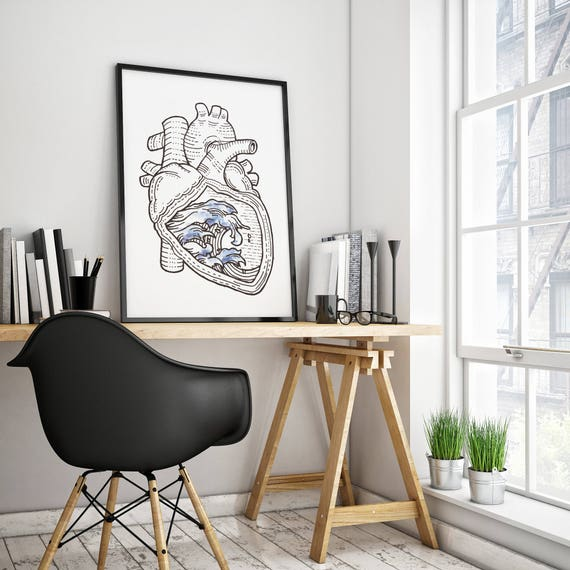 OCEAN HEART | Framed poster  | Wall Art Decor | Japanese Waves | Ink and watercolor | Surfing poster | Anatomical Heart | ZuskaArt