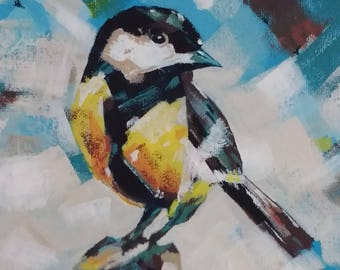 Stunning impressionist print of Great Tit on branch