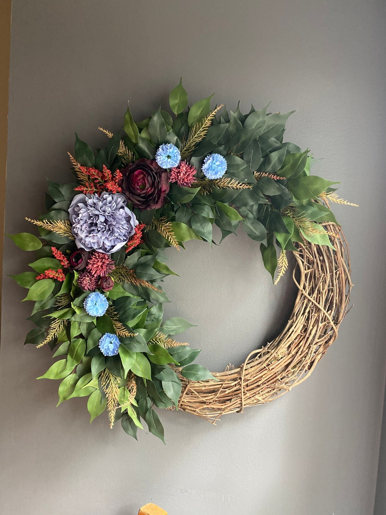 farmhouse decor country decor summer door wreath Front door wreath everyday wreath lambs ear wreath floral wreath farmhouse wreath