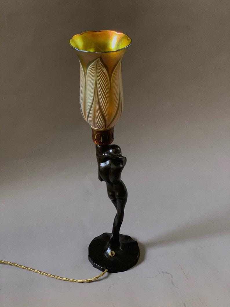 Art Deco Frankart Coy Nude Girl Mounted On Greist Lamp