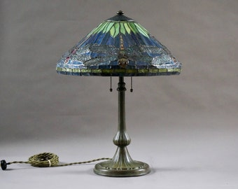 Handel Base With Tiffany Style Leaded Glass Shade