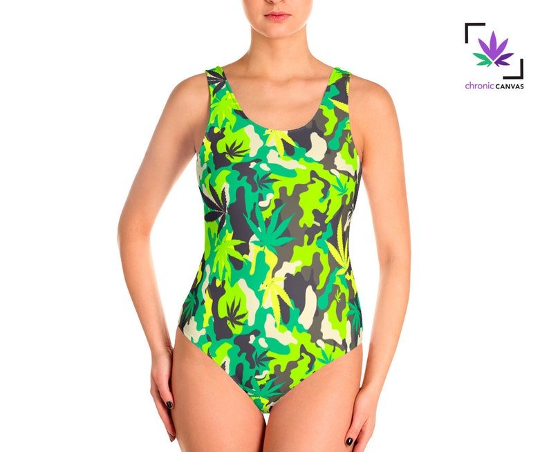 816476e4cf Weed Camo Swimsuit Cannabis Bathing Suit Camouflage