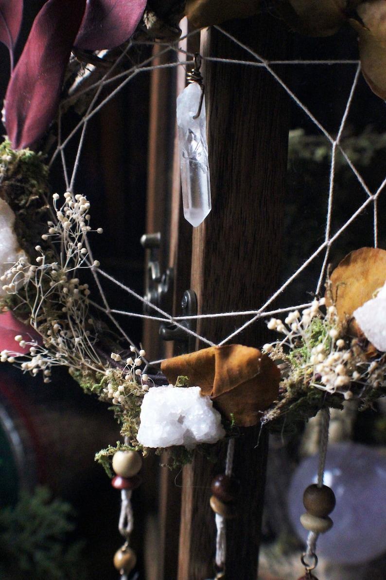 Faerie Wreath Dreamer  Dream Catcher Wreath Crystals Geode image 0