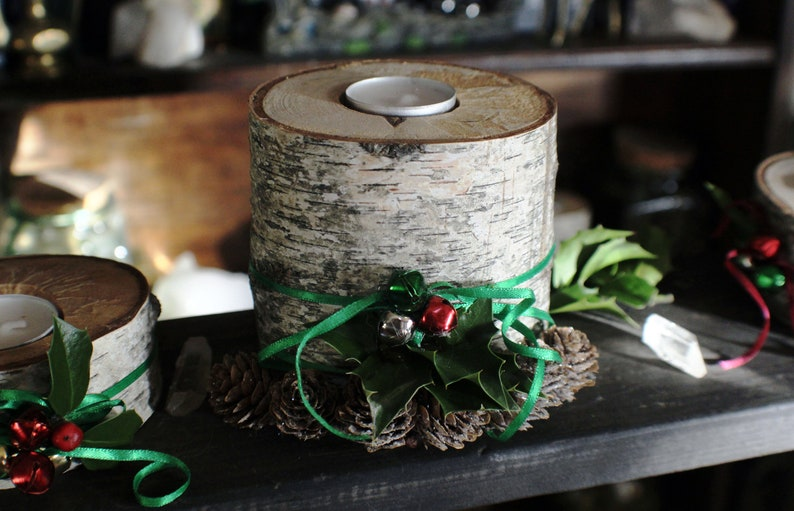 Birch Wood Candle Holder  Natural Home Decor Pine Cones image 0