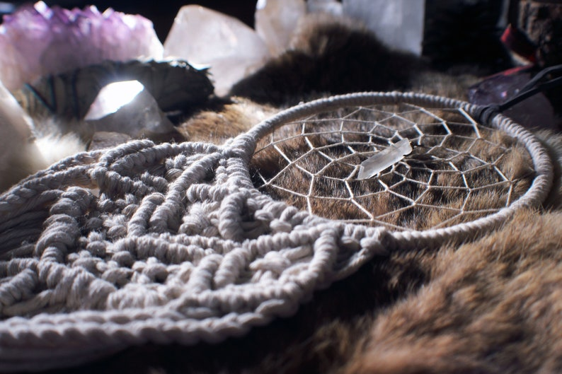 Macrame Dream Catcher  Quartz Crystal Feather Bohemian image 0