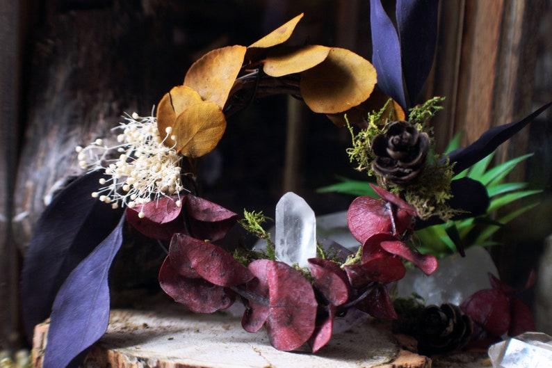 Faerie Wreath Dreamer  Dream Catcher Wreath Crystals Dried image 0