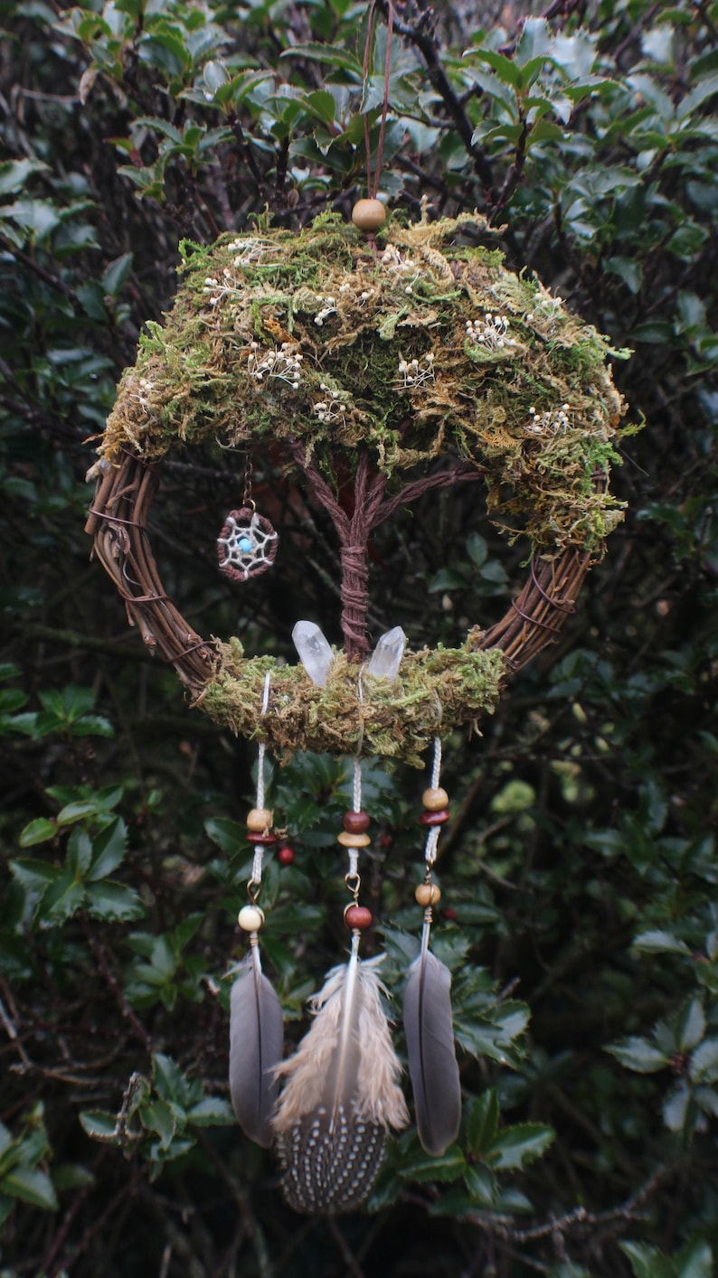 Crystal Faerie Tree of Life  Wreath Mini Dream Catcher Tree image 0