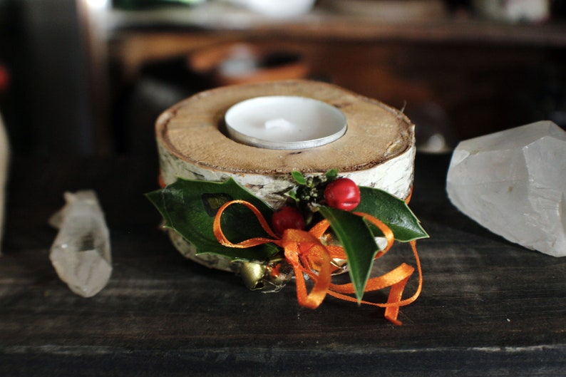 Birch Wood Candle Holder  Natural Home Decor Holly Leaves image 0
