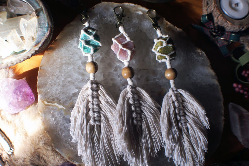 Macrame Crystal Key Chain  Raw Crystals Macrame Feather Key image 0