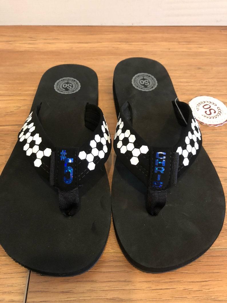 f503e387024750 Personalized Women s Soccer Mom Flip Flops