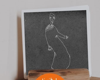 Printable drawing, woman in move, printable artwork, wall art, for decoration, minimalist illustration, figurative drawing