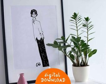 Printable illustration, Elegant character, Printable artwork, illustration to frame, minimalist illustration, decorative wall art, A4