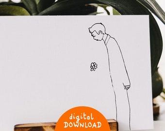 Printable illustration, Falling Flower, Printable artwork, illustration to frame, minimalist illustration, decorative wall art, A4