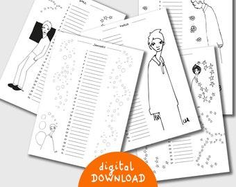 Printable perpetual calendar,  12 minimalist illustrations, instant download, printable pdf, 12 months,  size A4, 12 minimalist illustration