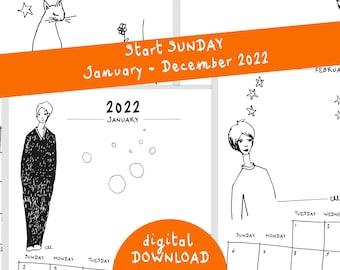2022 Calendar of 12 months, printable calendar 2022, downloadable planner 12 A4, weeks start sunday, 12 months, 12 simples illustrations