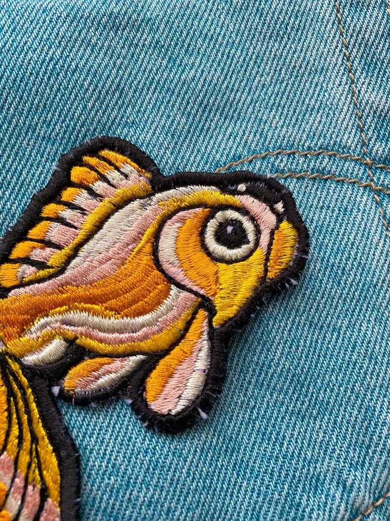 Lucky goldfish patch iron on handmade freemotion embroidery single issue