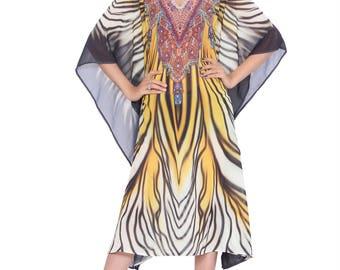 3bf13dc249ade Digital Lion Print Indian embellished caftan dress, Multi Color Caftan maxi  dress, Designer beach caftan