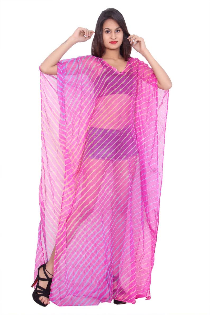 Pink Caftan maxi dress Designer beach caftan Long Dress Indian Lahariya Print embellished caftan dress