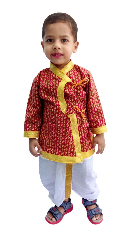 62a1fcd56 Indian Dabu Print Dhoti Kurta Boy s Traditional Angrakha