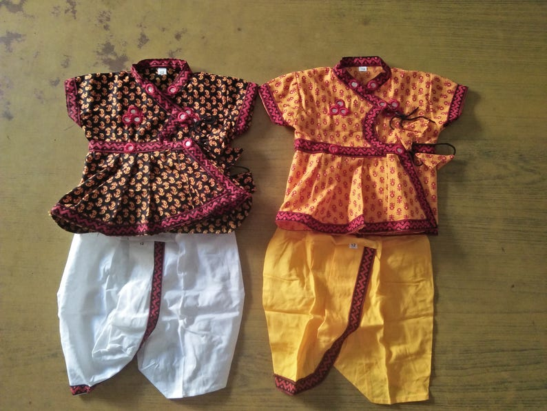 5ced9d4bf Indian Dress for newborn baby Dabu Print Dhoti Kurta suit