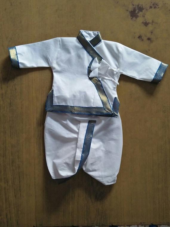 Free Shipping Cotton Angrakha Set NewBorn Dress baby White Dhoti with Kurta suit Indian kids wear Ethnic dress for 1-2 years child