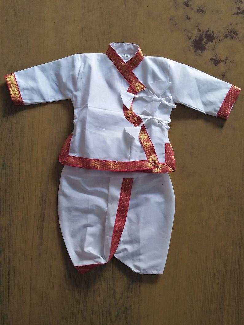 20a48b9ea Cotton Angrakha Set NewBorn Dress baby White Dhoti Kurta suit