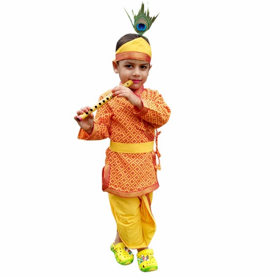 high quality cheap for sale meet Kids Krishna Dress Indian Ethnic dress Saffron Dhoti Kurta | Etsy