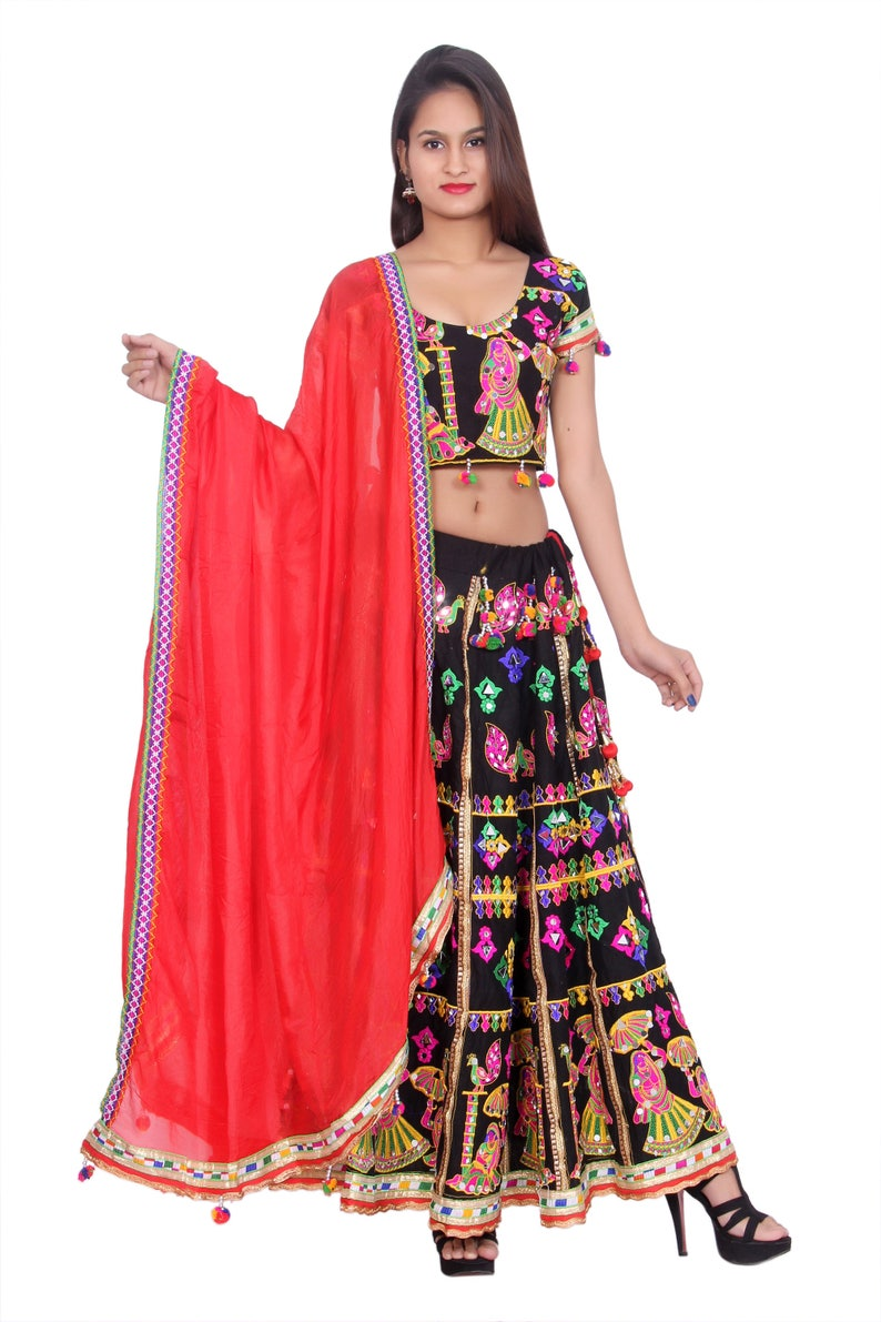 b623d7f166a5 Indian Ethenic Handmade Black Lehenga Choli Dupatta Set for