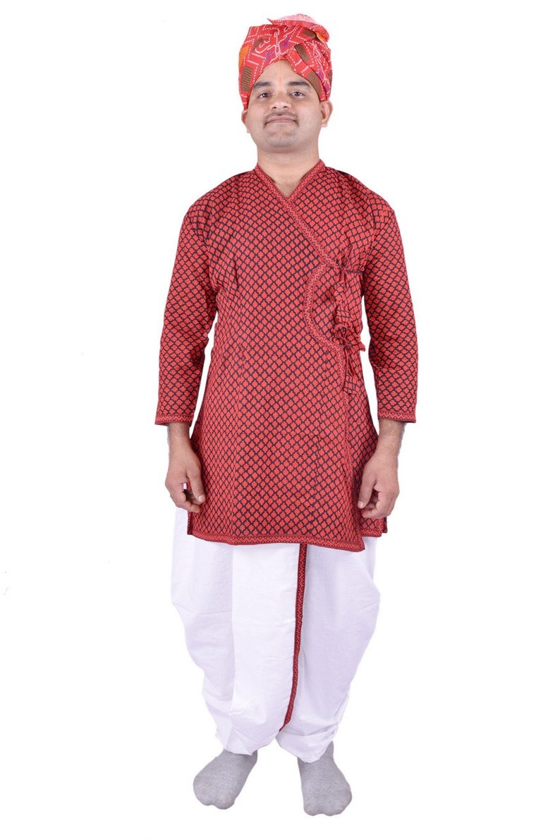 b401f13f1 Indian Traditional Ethnic Mens Cotton Dhoti Kurta Turban