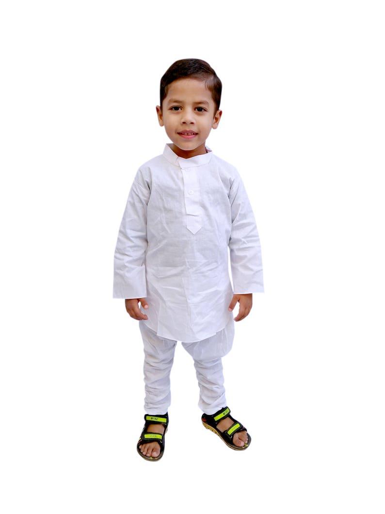 83fa35a4ed Indian Kid's Wear White Dress Boy's Kurta Pajama Suit. | Etsy