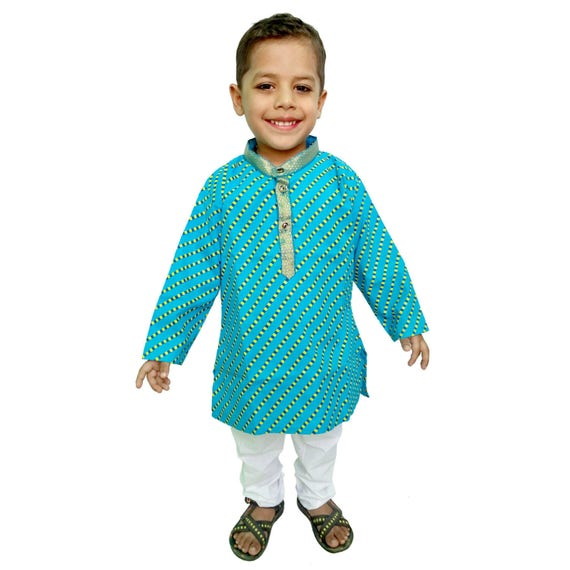 Indien enfant Kurta pyjama, Jaipuri Lehariya impression, impression à la main, impression de Khadi, robe traditionnelle, robe ethnique pour garçon