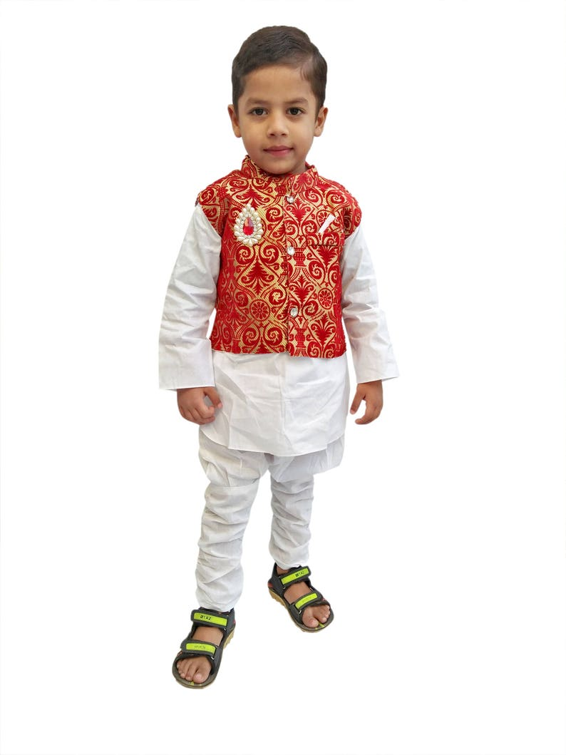 c6aeacf99feae Indian Kid's Wear Red Sherwani Dress Boy's Kurta Pajama Suit.