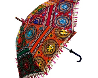 Umbrella, Indian, Vintage,  Handmade,  Embroidered, Patch work, Colorful Umbrella.  ( Buy1 Get 1 Free  FREE )