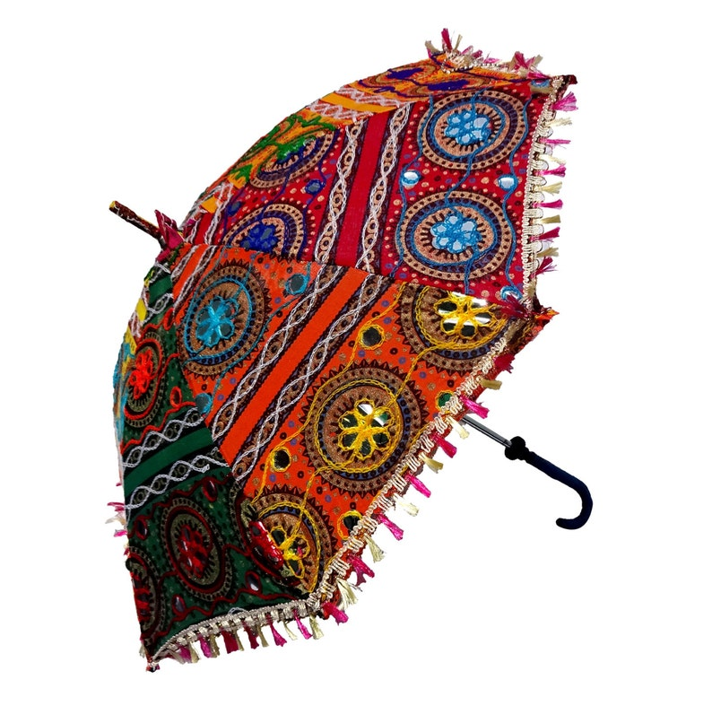 Umbrella Indian Vintage  Handmade  Embroidered Patch image 0