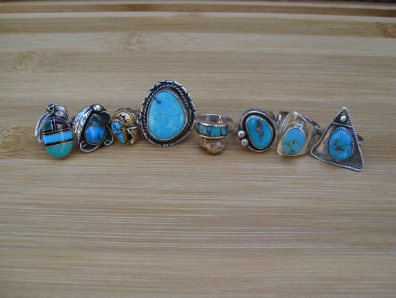 Vintage Turquoise Rings individually priced various sizes Sterling silver