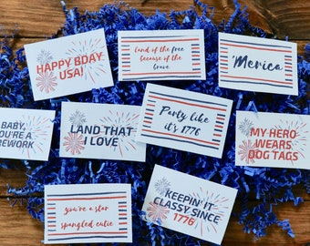 4th of July care package tags