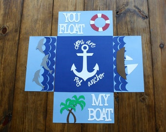 Boat themed care package flaps