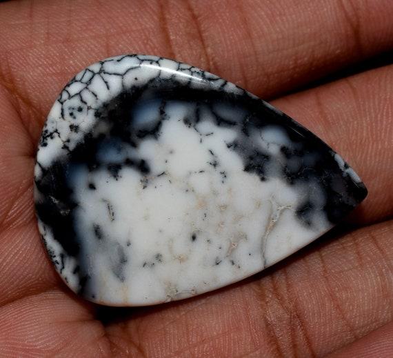 Natural Dendrite Opal Gemstone Heart Shape Cabochon 41.30Carat Dendrite Opal Cabochon Loose Gemstone Opal Stone Perfect Pendant Making Size-