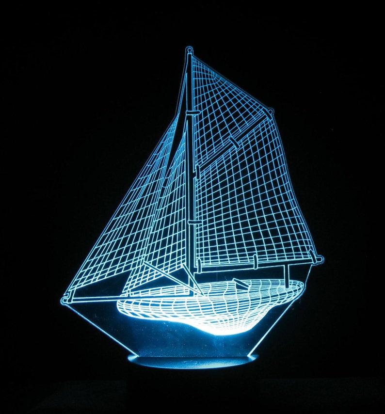 Sailboat 3-D Optical Illusion LED Desk, Table, Night Lamp