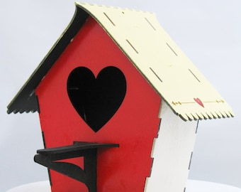 Bird House Kit Heart Front