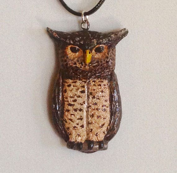 Eagle Owl Pendant,Animal Totem,Owl Jewelry,Owl Necklace,Rustic Jewelry,Owl Spirit,Polymer Clay Charm,Fantasy Owl,Key Chain,Polymer Clay Owl