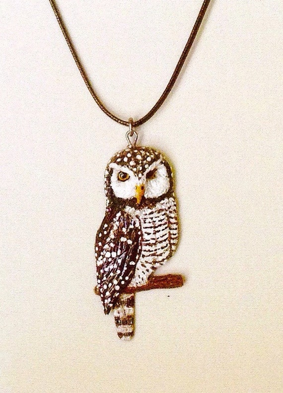 Northern Hawk Owl pendant,animal totem,talisman,owl jewelry,polymer clay owl ,rustic jewelry,polymer clay charm, key chain