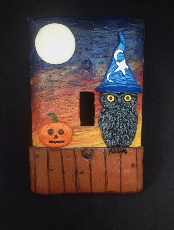 Halloween Light Switch Plate/Cover,Owl Light Switch Plate,Polymer Clay Light Switch Plate,Halloween Decor,Halloween Party