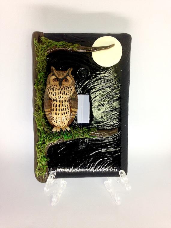 Great Horned Owl 3D Light Switch Plate/Cover,Polymer Clay Owl,Owl Totem,Owl Spirit Animal,3D Art,Mixed Media Art,Owl Art