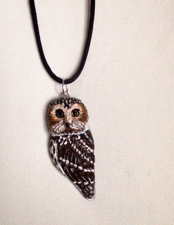 Northern Whet Owl Pendant,Owl Necklace,Polymer Clay Pendant, Boho Necklace,Owl Totem, Spirit Animal,Polymer Clay Owl