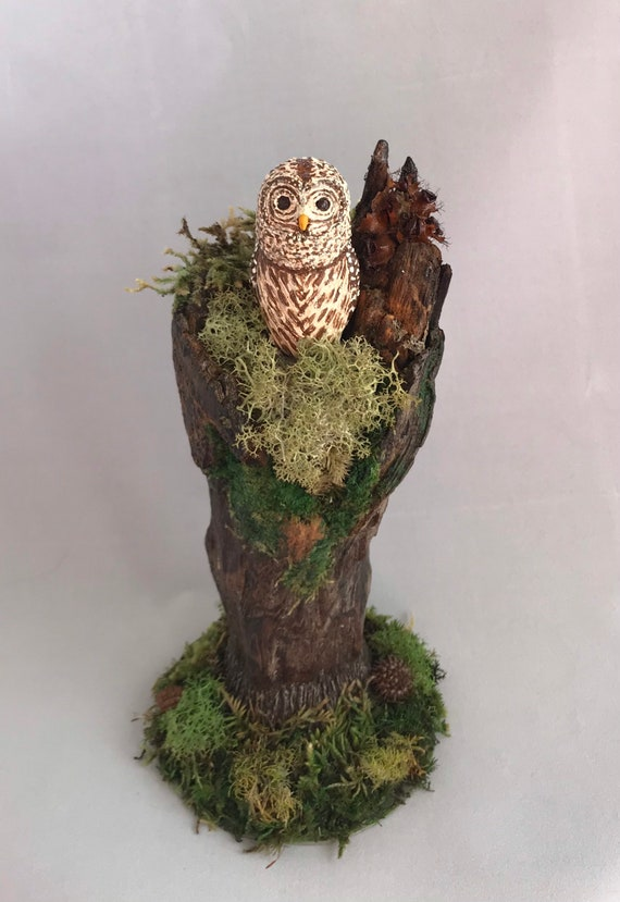 Hand Sculpted Barred Owl,Polymer Clay,Owl,Owl Totem,Spirit Animal,Owl Figurine,Moss,Wood Art,Owl Art,Owl Painting